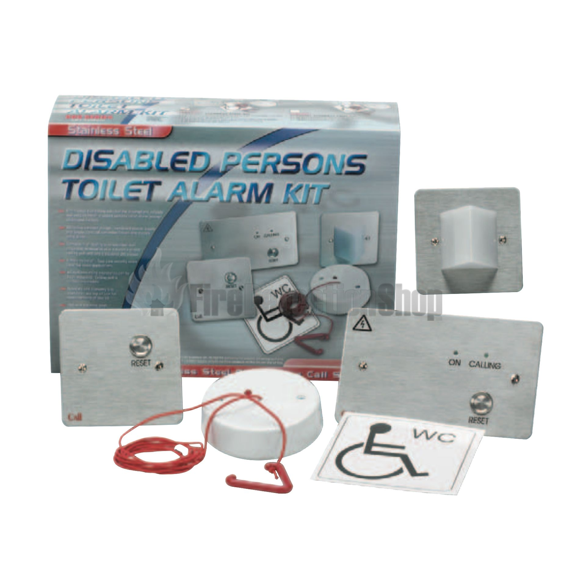 Disabled Persons Toilet Alarm Kit Stainless Steel  Flush Only
