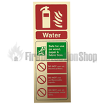 Prestige Gold Portrait Water Fire Extinguisher Sign