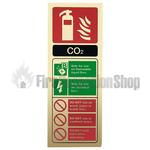 Prestige Gold Portrait Co2 Fire Extinguisher Sign