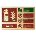 Prestige Gold Landscape Water Fire Extinguisher Sign
