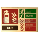Prestige Gold Landscape Co2 Fire Extinguisher Sign
