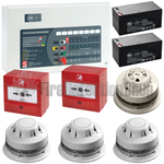 C-Tec 4 Zone Alarmsense Bi-Wire Fire Alarm Kit (c/w Sounder Beacons)
