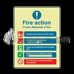 Photoluminescent Public Fire Action Sign 1
