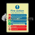 Photoluminescent Public Fire Action Sign 2