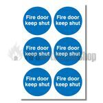 Fire Door Keep Shut Sign, 6 Pack