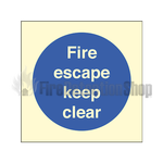 Photoluminescent Fire Escape Keep Clear Sign