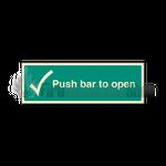 Photoluminescent Push Bar To Open Sign