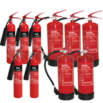 2Kg CO2 Fire Extinguishers x5 & 6Ltr Water Fire Extinguishers x5