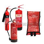 1.0m x 1.0m Soft Case Fire Blanket, PowerX 2kg Co2, 6ltr AFFF Foam & 6ltr Water Fire Extinguishers