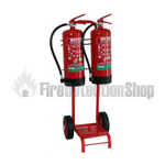 Double Fire Extinguisher Trolley Complete With Bucket Bracket
