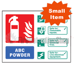 Landscape Self Adhesive ABC Dry Powder Fire Extinguisher Sign