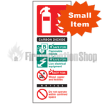 Portrait Self Adhesive Co2 Fire Extinguisher Sign