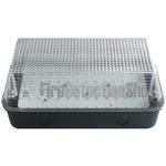 110V/240V 8W LED Bulkhead w/ Black Base & Clear Diffuser
