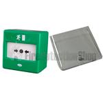CQR FP3/GR/DP Green Break Glass Door Release w/ Lift Up Protective Cover